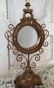 Decorative Golden Vintage Style Round Mirror with Base