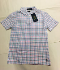 New! Polo Ralph Lauren Featherweight Mesh Checked Boys Blue Pink Size S 140cm