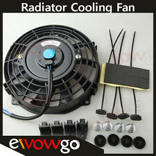 "Universal 7"" Radiator Electric Cooling Fan Curved S-Blade Reversible Muscle Car"
