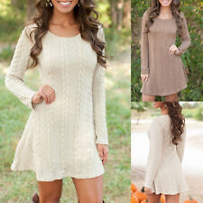 Women Winter Long Sleeve Jumper Tops Knitted Sweater Bodycon Tunic Dresses AU