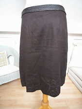 Next dark brown suede effect with lace pattern skirt size S uk8