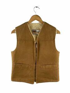 VINTAGE Carhartt Sherpa Denim Vest Mens Size S Brown Full Zip Pockets Lined