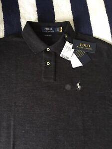 BNWT Mens Ralph Lauren Custom Slim Fit Dark Grey Polo Shirt In Large
