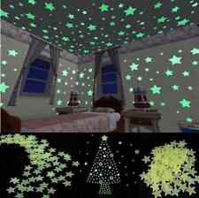 100pcs Home In The Dark Star Stickers Wall Light Green Glow Decal Baby Kids Room