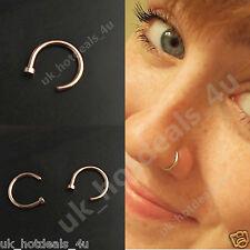 Rose Gold Open Nose Ring Hoop Tragus Ring Cartilage Earring 0.6mm Nose Hoop