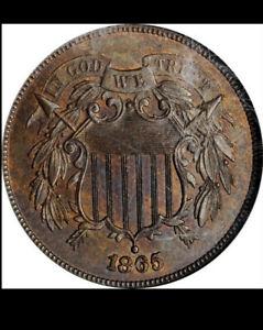 1865 Two-Cent Piece. Plain 5. MS-65 BN