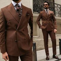 Business Brown Men Suits Peak Lapel Double Breasted Groom Formal Tuxedos Blazer