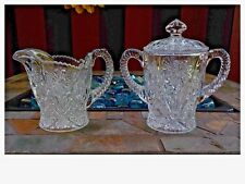 Clear Glass Creamer Pitcher and Sugar Bowl w/ Lid Indiana Glass Daisy Pattern