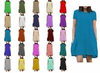 KCSPSD Kids Girls Cap Sleeve Plain Casual Loose Skater Pocket Swing Dress