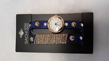 Blue faux leather watch with gold studs and rhinestones