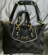 COACH ASHLEY GATHERED SATIN SATCHEL Patent Leather Shoulder Bag Gold Hardware