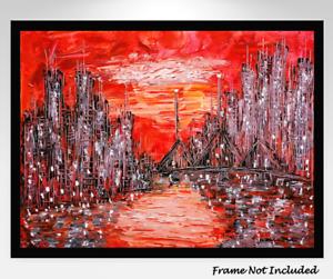 Mid-Century Modern Original Painting Cityscape Abstract Impasto MCM Atomic Eames