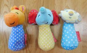 "Lot of 3 FISHER-PRICE Plush Stuffed Toys/Rattles~Lion/Elephant/Giraffe 6"""