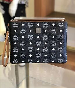 MCM White Logo Black Pouch Clutch Bag Wallet Wristlet Limited Edition + Dust Bag