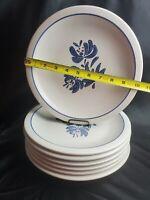 "Vintage Pfaltzgraff YORKTOWNE 10 1/4"" Dinner Plate set of 7 blue flower pattern"