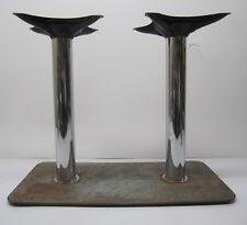 Vtg Retro Table Base Mount Stand Diner Restaurant Bar Two 2 Chrome Legs Steel