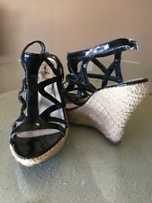 QUPID Black Patent Leather Wedge Sandals Size 8