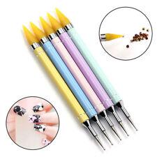 Dual-ended Dotting Pen Nail Art Bead Picker Wax Pencil Rhinestone Handle Yellow