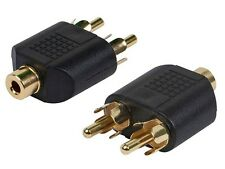 "2 pcs/set RCA Female Jack to 2 RCA Male Plug ""Y"" Splitter Adaptor Gold Plated"