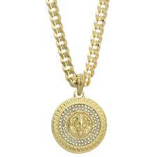 """Mens 14k Gold Plated Cz LION MEDALLION Pendant Hip-Hop 6mm 24"""" Cuban #98 Chain"""