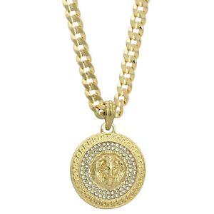 """Mens 14k Gold Plated Cz LION MEDALLION Pendant Hip-Hop 6mm 30"""" Cuban #98 Chain"""
