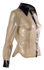 Fetisch Damen Lang Arm Bluse mit Kragen und Druckknopf Latex XRubber