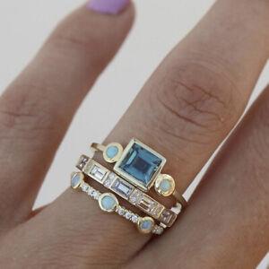 Fashion 18K Gold Filled Ring Set Blue Sapphire Women Men Wedding Jewelry Sz 6-10