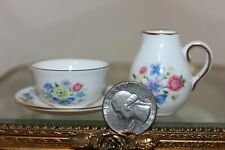 Set of Spode Miniature Dishes, Cup, Saucer, & Pitcher, Tiny! Floral Design
