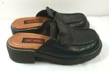 Harley Davidson Women's Black Leather Slip on Clogs Mules Sandals Shoes Sz. 7.5