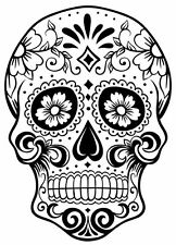 Sugar Skull #15 monocrome Sticker Decal DAY OF THE DEAD ipad computer CAR DECAL