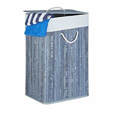 Relaxdays cesto para ropa sucia plegable con tapa Bambú gris 33.5x43.5x65....