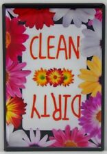 "CLEAN / DIRTY Sign 2"" X 3""  Dishwasher Magnet. Spring Flowers Design"