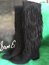 Sam Edelman Tall Pendra Black Suede Fringe Boots Size 7.5 NIB Retail $294.95