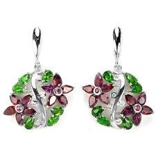 Sterling Silver Chrome Diopside, Rhodolite & Lab Diamond Gemstone Earrings