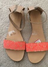 Lulu Kennedy marks and spencer slip on flat orange sandals flipflops size 7.5