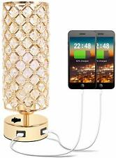 Gold Crystal Table Desk Lamp Dual USB Charging Ports Beads Metal Base Bedroom