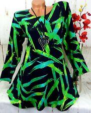 Leins Designer Kleid Tunika Bluse Shirt Top Longshirt A-Linie Schwarz XXL 46 48