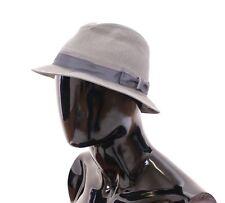 NWT $300 DOLCE & GABBANA Gray Cotton Logo Fedora Trilby Hat Cappelo s. 58 / M