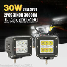 2x 3inch 30W CREE LED SPOT Cube Work Lights Bar Driving Pods OffRoad ATV Fog 18W