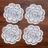4Pcs/Set White Vintage Hand Crochet Lace Doilies Cotton Round Coasters 10cm
