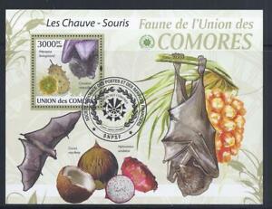KL5241 2009 3000F Comoros Souvenir Sheet Wild Animals Fruit Bats SCV $15.50