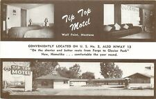 Wolf Point Montana~Tip Top Motel~Interior Guest Room~Outside~B&W 1950s Postcard