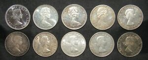 Lot of 10 Canada Silver $1 Dollars XF - BU all .800 Fine Silver