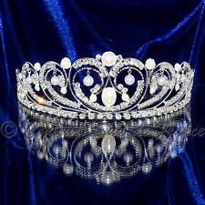 """bijou femme accessoire mariage diadème argenté cristal perles """"double cœurs"""""""