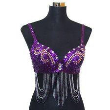 Professional Belly Dance Beaded Sequin Bra Top - Purple