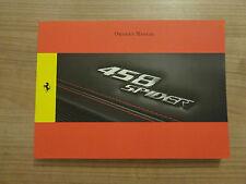 Ferrari 458 Spider Owners Handbook/Manual
