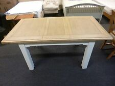 New Large Chunky Oak & Light Grey Extending Dining Table *Furniture Store*