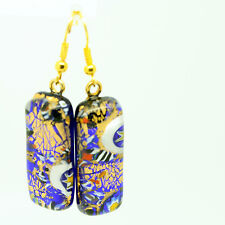 Gold and Blue with Millefiori Murano Venetian Glass Drop Dangle Earrings