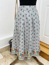 Seasalt Flower Floral Print Cottagecore pleated Knee midi Length Skirt Size 10