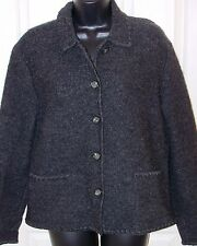 Talbots  Petite Jacket Coat Unlined 100% Wool Dark Gray Button Front Size Small